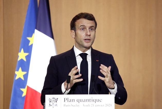 Emmanuel Macron, ici à l'université Paris-Saclay à Orsay (Essonne), le 21 janvier
