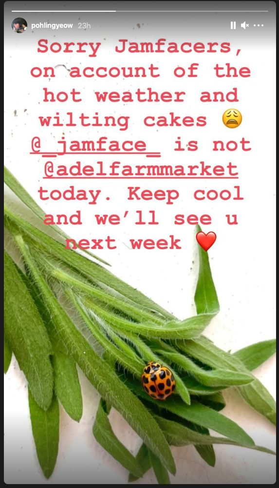 'MasterChef's Poh Ling Yeow cancelled her cake stall at Adelaide Farmers Markets on Sunday.