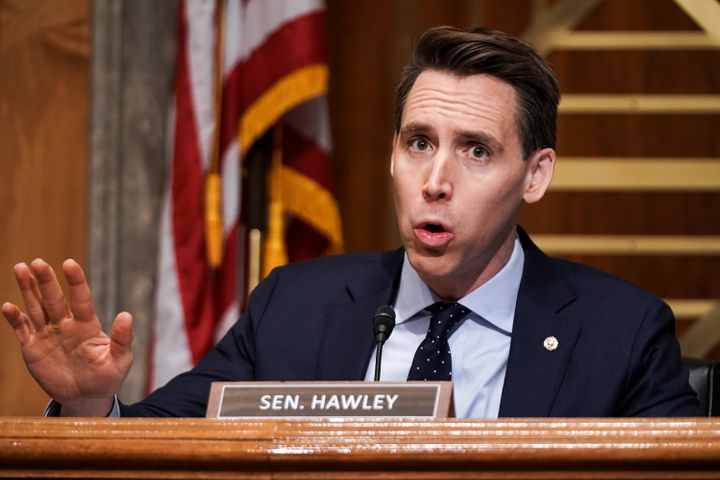 Sen. Josh Hawley (R-Mo.) claimed he was being muzzled in the most un-muzzled way possible.