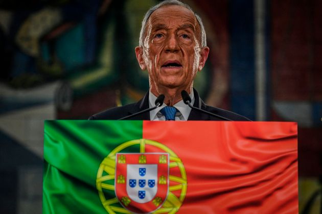Presidential candidate Marcelo Rebelo de Sousa delivers his victory speech after been re-elected as Portugal's...
