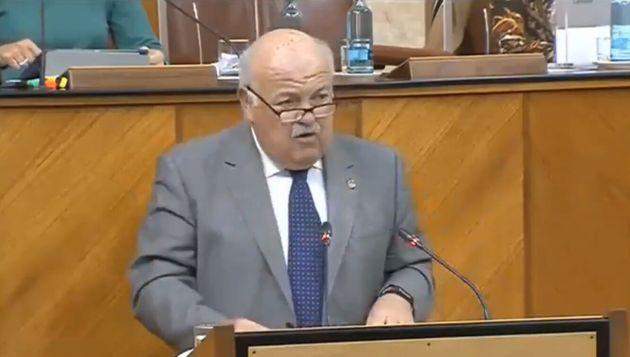 Jesús Aguirre durante su intervención en el Parlamento de