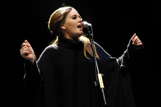 Adele performing on the day of 21's release in