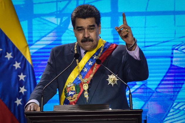 El presidente de Venezuela, Nicolás Maduro, durante un discurso en Caracas el 22 de enero de
