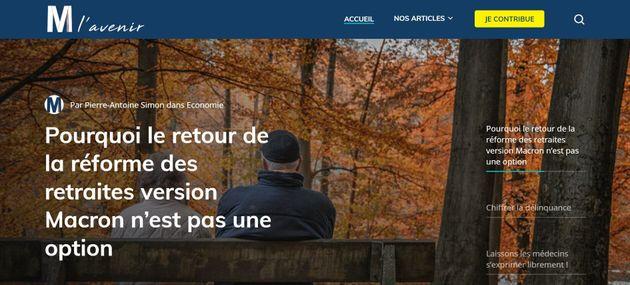 Capture du site Mlavenir.fr lancé ce lundi 25 janvier par Marine Le Pen en vue de recueillir tribunes...