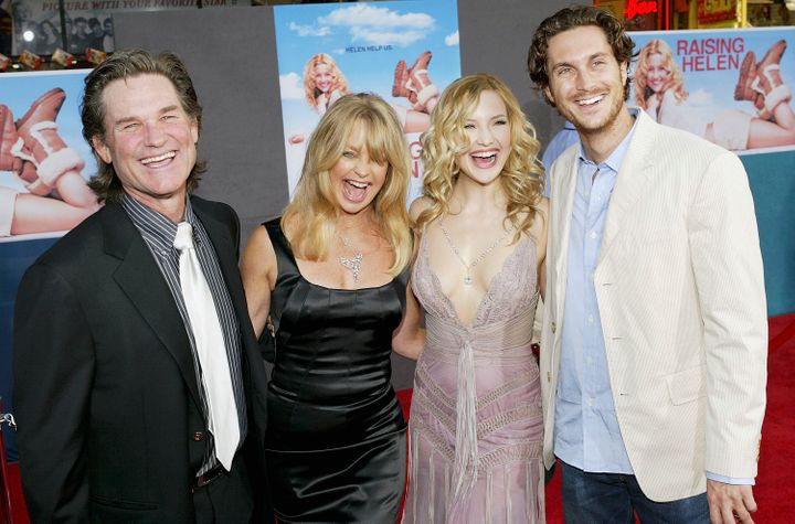 """Kurt Russell, Goldie Hawn, and Kate and Oliver Hudson attend the film premiere of the romantic comedy """"Raising Helen"""" on May"""