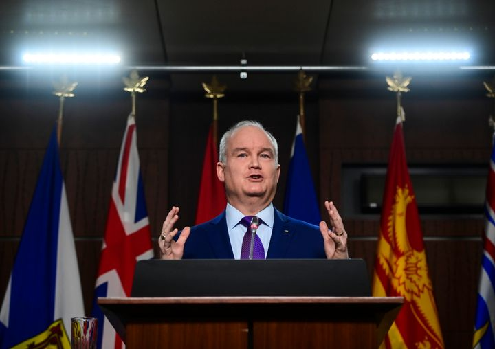 Conservative leader Erin O'Toole holds a press conference on ParlIament Hill in Ottawa on Jan. 25, 2021.