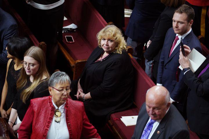 Senator Lynn Beyak waits for the Throne Speech in the Senate chamber in Ottawa on Dec. 5, 2019.