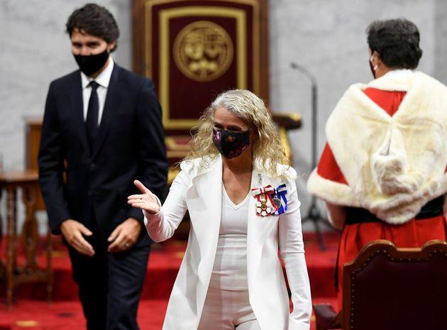 Gov. Gen. Julie Payette leaves along with Prime Minister Justin Trudeau after delivering last fall's...