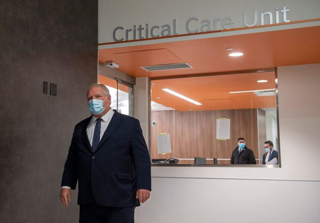 Ontario Premier Doug Ford gets a tour of Cortellucci Vaughan Hospital in Vaughan, Ont. on Jan. 18,