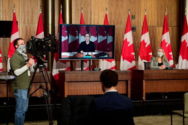 Minister of Middle Class Prosperity and Associate Minister of Finance Mona Fortier holds a press conference as she is joined virtually by Finance Minister Chrystia Freeland in Ottawa on Jan. 25, 2021.