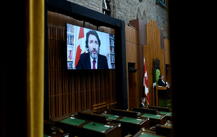 Prime Minister Justin Trudeau is seen as he speaks via videoconference during question period in the House of Commons on Jan. 25, 2021.
