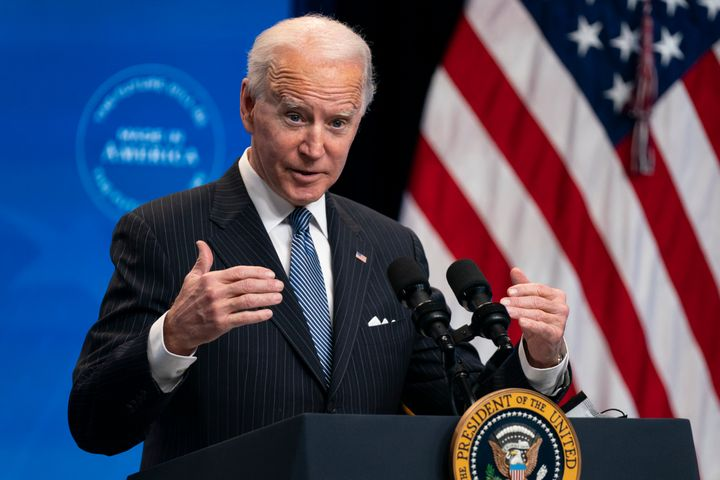 In this Jan. 25, 2021, file photo, President Joe Biden answers questions from reporters in the South Court Auditorium on the