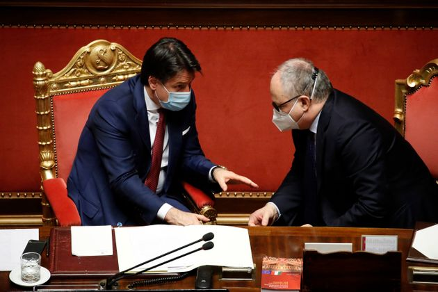Italian Prime Minister Giuseppe Conte and Minister of Economy and Finance Roberto Gualtieri during the...