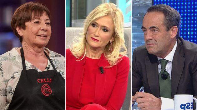 Celia Villalobos, Cristina Cifuentes y José Bono en los platós de televisión.