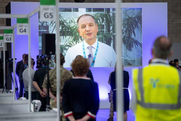 NHS England boss Simon Stevens, addresses staff earlier in the