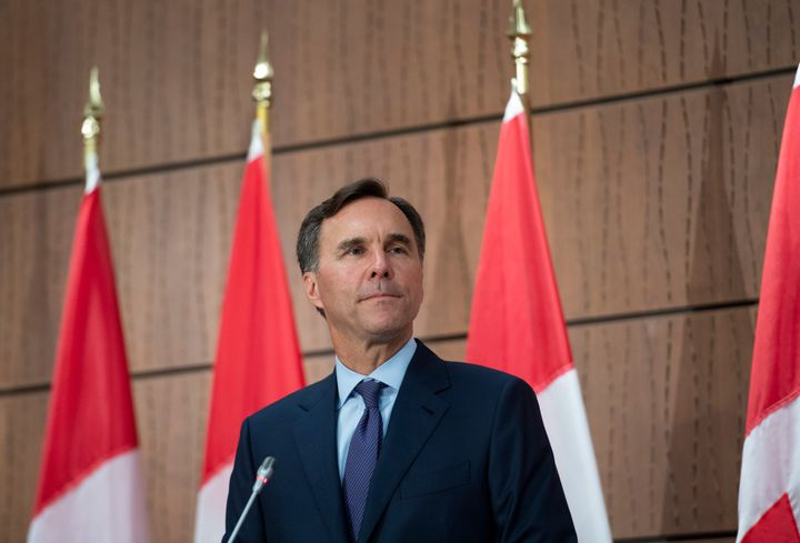 Bill Morneau announces his resignation during a news conference on Parliament Hill in Ottawa on Aug. 17, 2020.