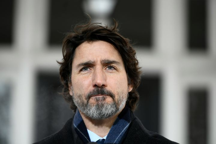 Prime Minister Justin Trudeau speaks during a news conference on the COVID-19 pandemic outside his residence at Rideau Cottage in Ottawa, on Jan. 26, 2021.