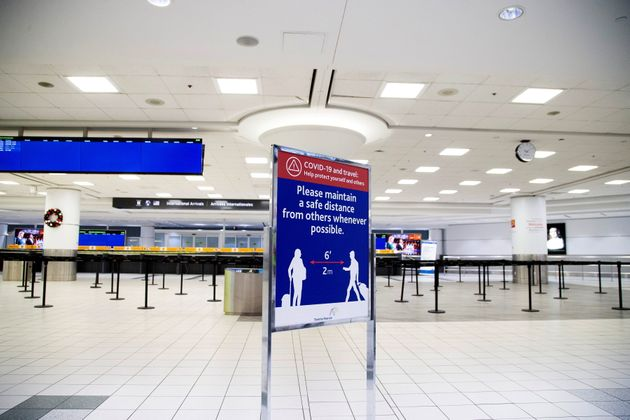 An empty terminal 3, amid a spike in coronavirus disease (COVID-19) cases, at Pearson airport near Toronto...