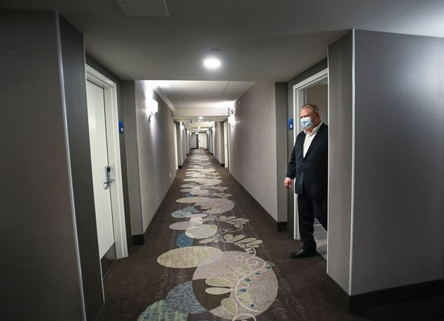 Ontario Premier Doug Ford visits the Holiday Inn Express and Suites, which is used as a COVID-19 isolation...