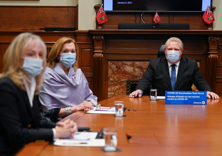 Ontario Minister of Long-Term Care Merrilee Fullerton, Minister of Health Christine Elliot and Premier Doug Ford, provide an update on COVID-19 vaccinations in Toronto on Jan. 5, 2021.
