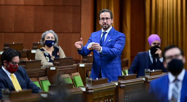 Bloc Quebecois Leader Yves-Francois Blanchet rises during question period in the House of Commons on...
