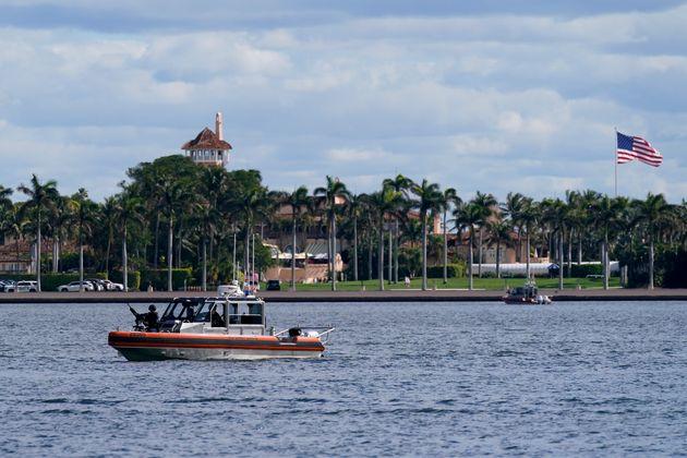 A security boat patrols near Mar-a-Lago Florida Resort on January 20 in West Palm Beach,