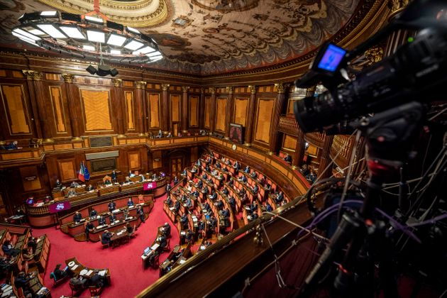 ROME, ITALY - NOVEMBER 02: A general view of Italian Senate during the informative debate about further...