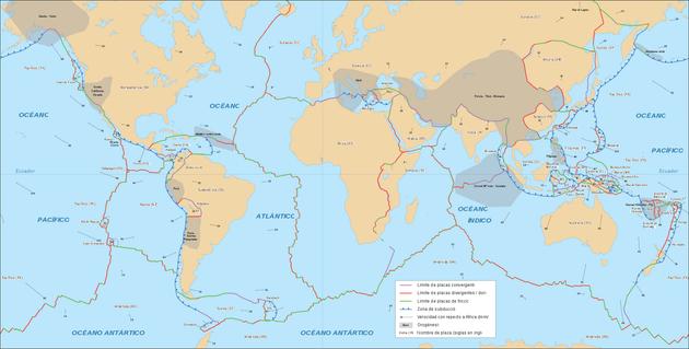 Mapa de las placas tectónicas del