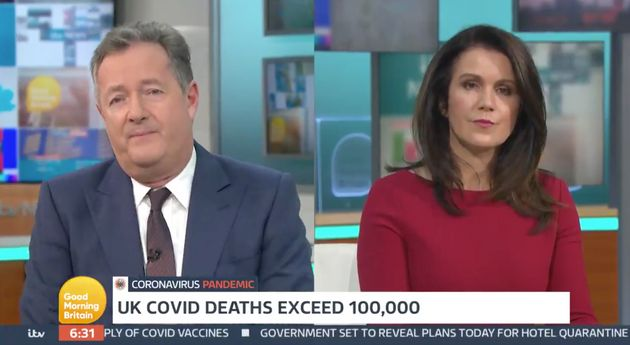 Piers Morgan and Susanna Reid during Wednesday's Good Morning