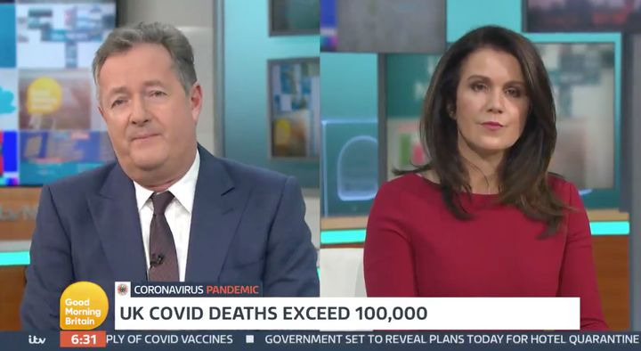 Piers Morgan and Susanna Reid during Wednesday's Good Morning Britain