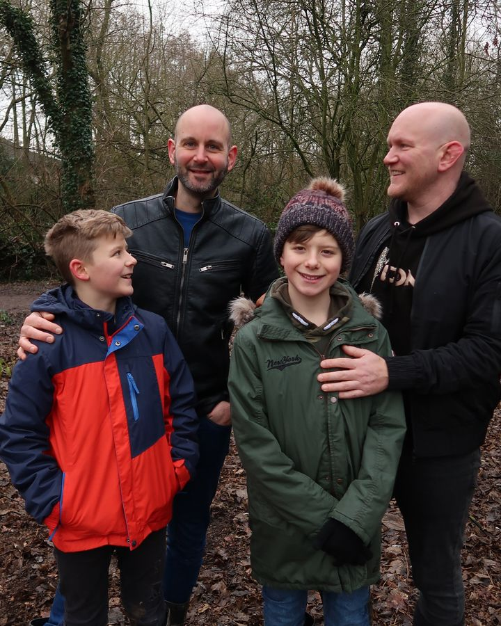 Jamie Beaglehole, with his husband Tom and their childrenLyall and Rich.