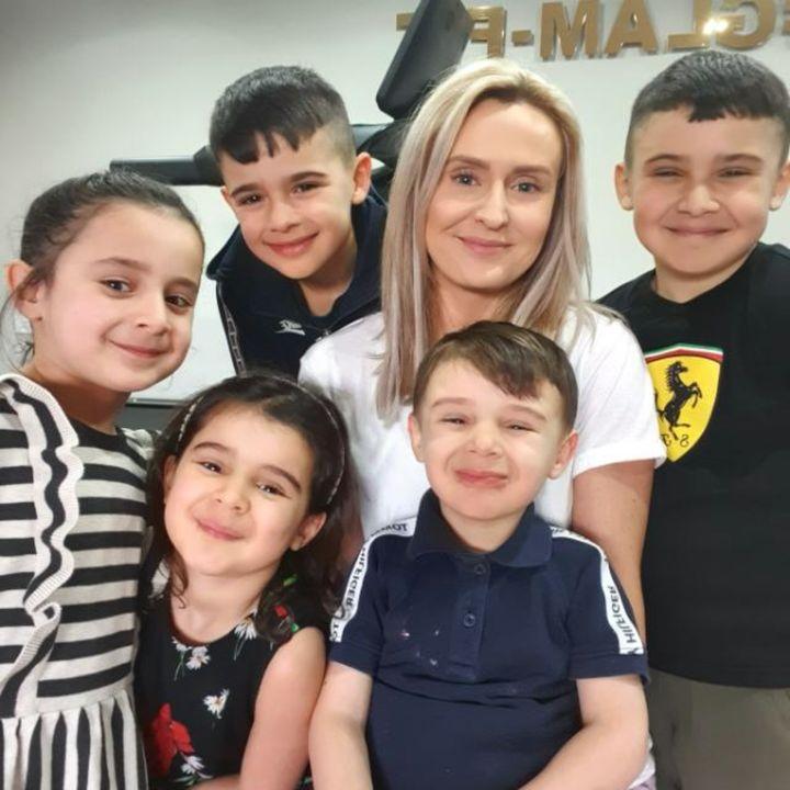 Jenna Rigby and her children Zayn, 9, Rayyan, 8, Aneesa, 6, Aaila, 5, Salahudeen, 4.