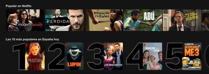 Los contenidos más populares en Netflix y en España.