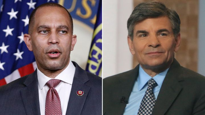 Rep. Hakeem Jeffries (D-N.Y.) is shown on the left, and journalist George Stephanopoulos is shown on the right.A Califo