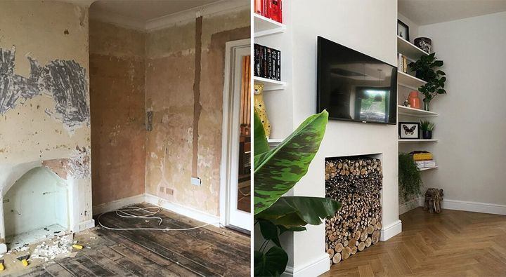 The actual house, before and after renovation.