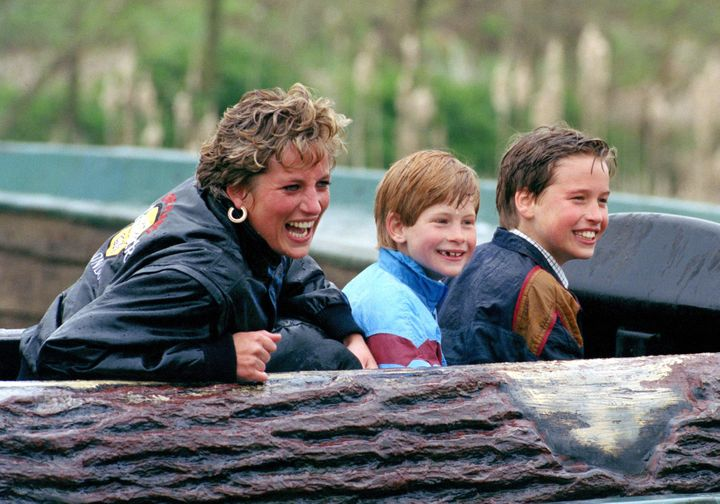 Diana Princess Of Wales, Prince William & Prince Harry Visit The 'Thorpe Park' Amusement Park.