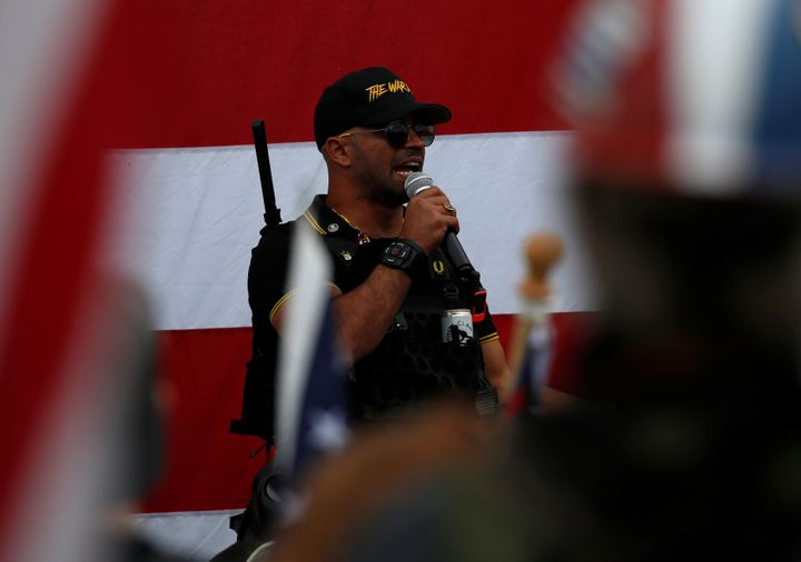 Proud Boys chairman Enrique Tarrio speaks at a rally in Portland, Oregon, U.S. September 26, 2020. REUTERS/Jim Urquhart