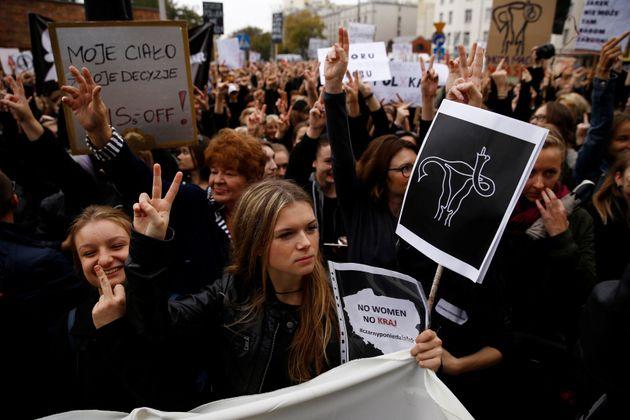 En Pologne, l'avortement est désormais quasi-interdit (Photo d'illustration: manifestation en...