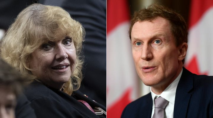 Former senator Lynn Beyak and Indigenous Services Minister Marc Miller are shown in a composite image of photos from The Canadian Press.