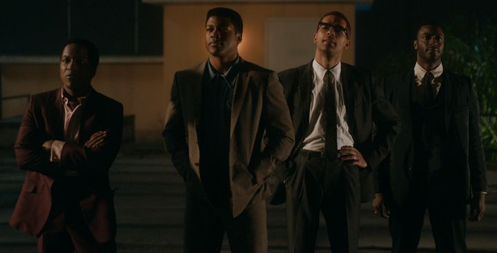 (Left to right) Leslie Odom Jr., Eli Goree, Kingsley Ben-Adir and Aldis Hodge in 'One Night in Miami.""