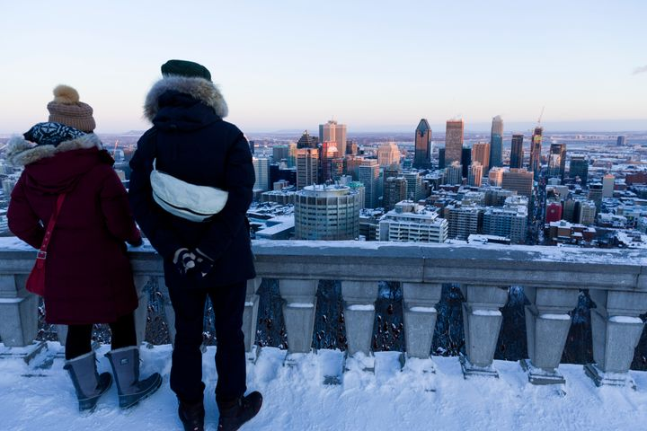 Montréal, Québec, Canada, January 4, 2016. -- Montreal is seen from Mount Royal (mont Royal) when the night is coming. (Photo by Thierry Tronnel/Corbis via Getty Images)