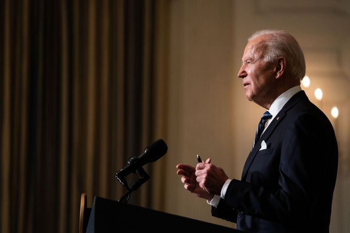 President Joe Biden speaking the White House before signing a flurry of executive orders on climate change Wednesday.