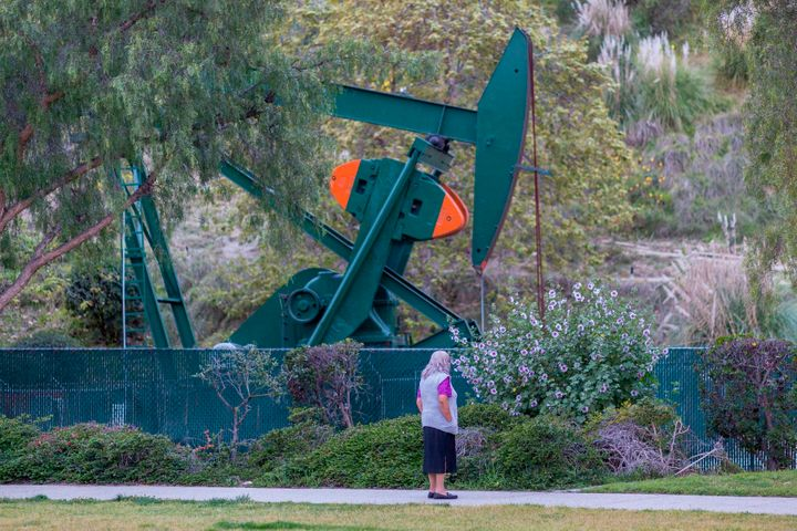 Pump jacks draw crude oil from the Long Beach Oil Field under Discovery Well Park in Signal Hill, California, last March.&nbs