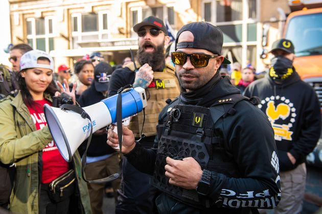 Enrique Tarrio, en una reciente protesta de los Proud Boys en