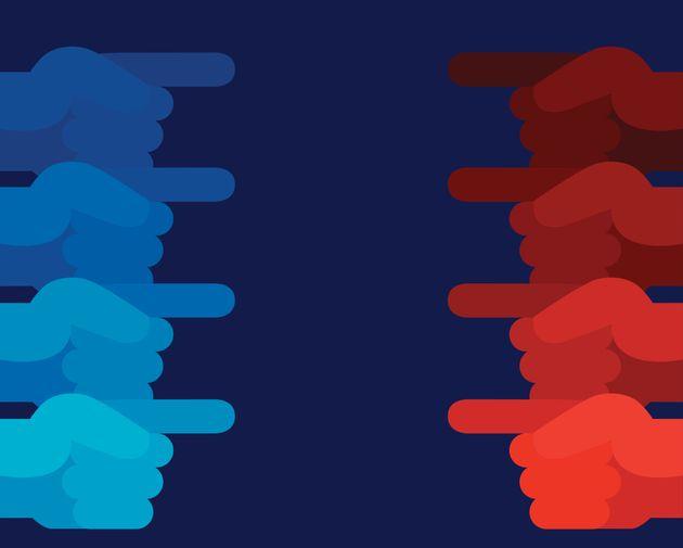 Vector illustration of blue and red hands pointing at each