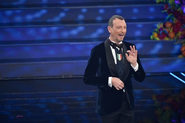 SANREMO, ITALY - FEBRUARY 6: Amadeus at the third evening of the 70th Sanremo Music Festival on February...