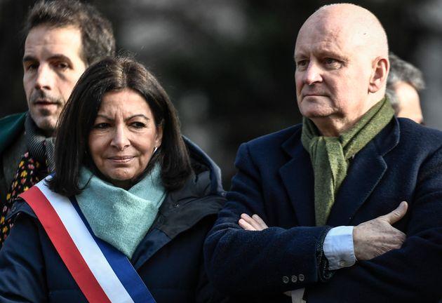 Anne Hidalgo et Christophe Girard, lors d'un hommage à René Goscinny en janvier 2020, à