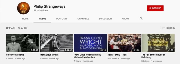 A look at a few of the other videos Philip Strangeways had uploaded to his account.