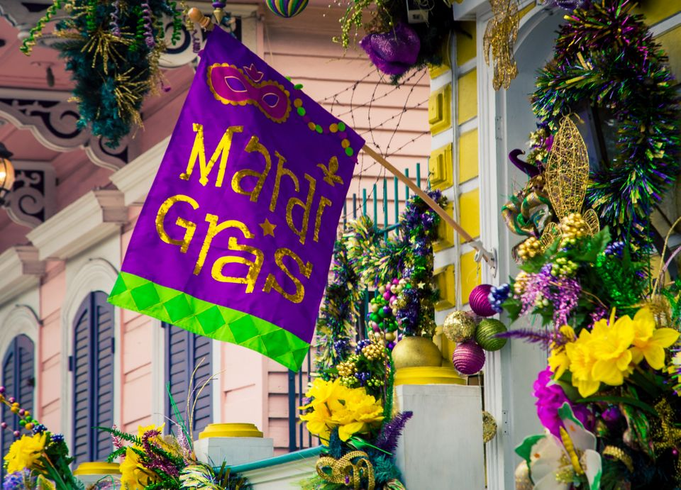 Colorful decorations for the Mardi Gras celebrations in New