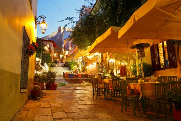 Streets of Plaka in centre of Athens,